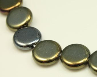 Bead, Preciosa® Czech pressed glass, iris brown, 10x3.5mm flat round. Qty 10, Czech Glass Bead