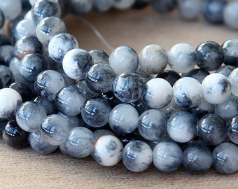 Mountain Jade Beads, Black and White Mix, 6mm Round - 15 Inch Strand - eMCJ-510-6