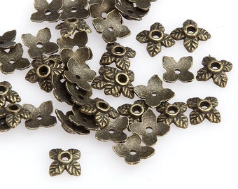 50 pcs Bead Caps, Antique Bronze, 6mm Leaves - eBCR024-AB