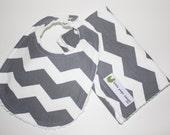 Chevron Baby burp cloth and bib set, Gender neutral,  Ready to Ship