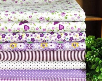 8 pieces Purple Group Series Color collection Cotton Cloth  Quilt Fabric-DIY Handmade Fabric Cloth
