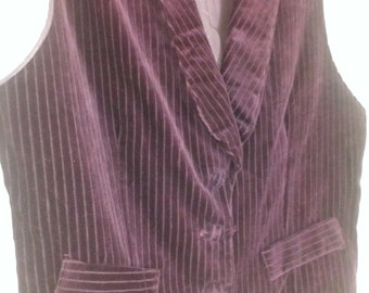 80's Cobra Pinstriped Velvet Wine Fitted Vest and Knickers Set Size S