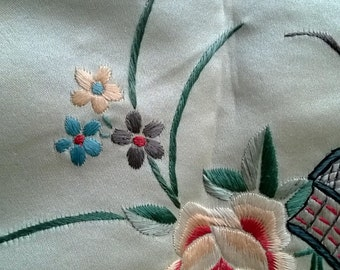 Silk Embroidery Flower Basket Picture