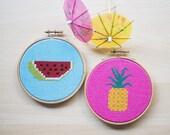 Watermelon and Pineapple- Modern Cross Stitch Pattern, Cross Stitch pattern, Counted Cross Stitch, Spring Garden, PDF Instant Download