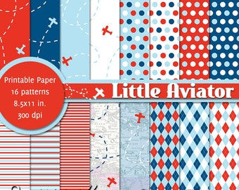 PRINTABLE Little Aviator • 8.5x11 Digital Paper Pack • INSTANT DOWNLOAD