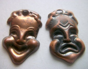 Vintage Comedy and Tragedy Masks Renoir Copper  Parts Earrings    # H 15