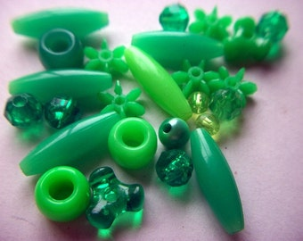Vintage Lot of Various Green Plastic Beads