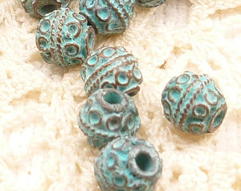 7mm Ornate, Bali-style Round Spacer Bead, Rustic, Patina Beads, Mykonos Casting Beads (8) - M40 - X0583