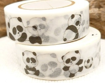 Soccer Panda Bear Black and White Washi Tape - U1189