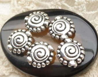 Spacer Beads Flat Round Spiral Design Antiqued Silver (10) - SF87