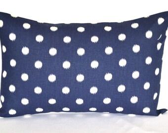 """Lumbar Pillow Navy Blue dot decorative pillow throw pillow cushion cover 12"""" x 18"""""""