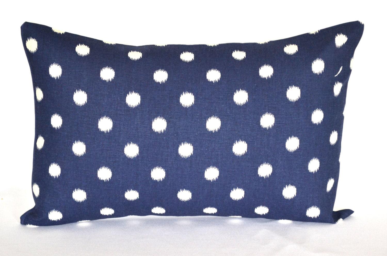 Blue Lumbar Throw Pillow : Lumbar Pillow Navy Blue dot decorative pillow throw pillow
