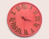14'' red wine rustic wall clock