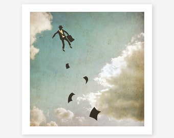 GICLEE Fine Art Print, Minimal, Retro Surrealism for the Home Decor 'FALLING UP'