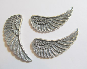 1 45x19x3mm Antiqued Sterling Silver Bali Angel Wing Drop, Dangle, Charm, Pendant