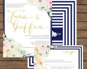 Modern Calligraphy Vintage Corner Floral Wedding Invitation (Front & Back) with RSVP