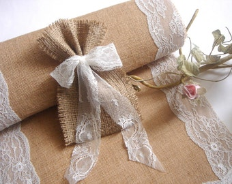 50 Burlap Bags, Rustic favor bags with ivory  lace, Rustic eco friendly bags