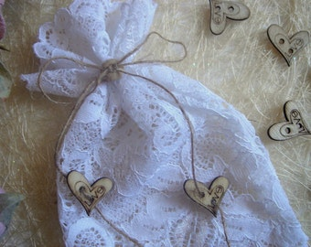 150 White Lace   Favor Bags, Christening Lace Favor Bags