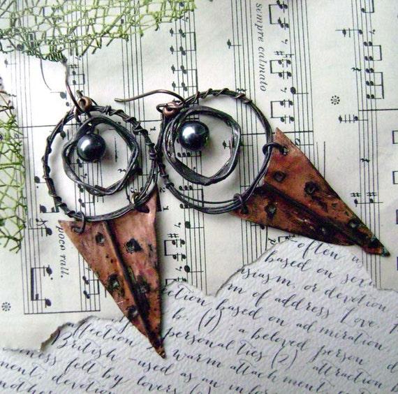 hoop earrings, mixed metal, rustic, handmade jewelry, tribal, dangle, foldformed, dagger, hoop, metalwork,  earrings by Anvil Artifacts