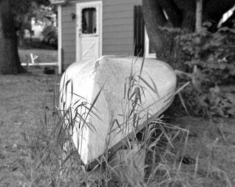 Canoe Photo Boat Photo Black and white PHoto Original PHotography Rustic Decor