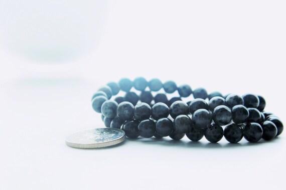 Three Grey Labradorite Gemstone and Coin Charm Stacks Bracelets