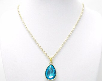 Petite Turquoise Facetted Gem Stone Pendant Necklace
