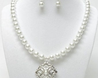 8mm White Glass Pearl w/Silver Pendant Necklace & Earrings Set