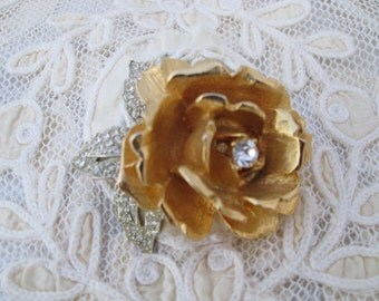 Vintage Brooch Rose Rhinestone Leaves Gold
