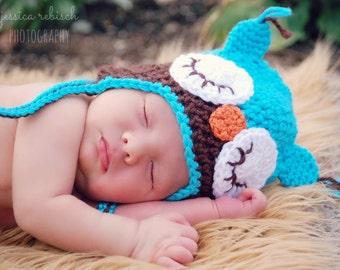 Baby Owl Crochet Hat Photo Prop