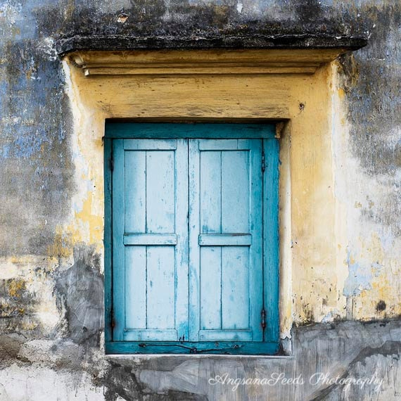 Blue window, Rustic home decor, Heritage, Malaysia, Wood, Architecture, Historical, Yellow, Street Art, Rustic Wall art, gift