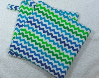 Pot Holder Quilted Hot Pad Set of 2 - Multi Blue Chevron Trivet Ready to Ship