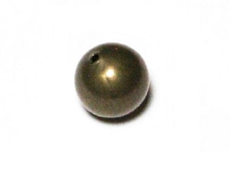 16 Mm Vintage Brass Round Hollow Seamless Beads Pkg of  24  Hole Size 2.0Mm / Natural brass