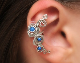 No Piercing Silver Fairy Magic Swirls Lapis Blue/piercing imitation/conch cartilage ear cuff/ear jacket manchette/Ohrklemme ohrclip/sweep