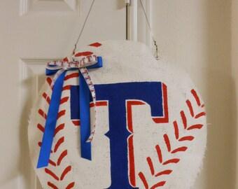 Texas Rangers Burlap Baseball Door Hanger