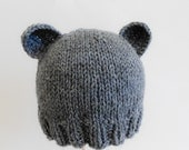 Organic Baby Bear Hat Knit Baby Beanie Newborn Boy Girl Teddy Bear Animal Hat Cozy Winter Cute Baby Shower Gift Photo Prop Made to Order