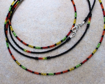 Parrot Cays - Double Strand Waistbeads - Black Orange Green and Yellow Waist Bead Set of Two with Sterling Silver Clasp