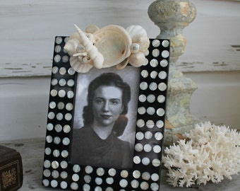 Inlaid Mother of Pearl Seashell Picture Frame/4x6 Seashell Frame