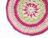 Pink and Green Crochet Circle Rug, Small Throw Rug, Cat Mat, Place mat or table decor, Hand-stitched rug, Cotton Rug