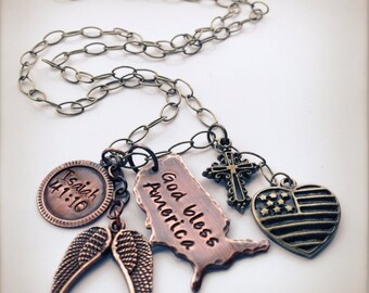 God, Country & family necklace