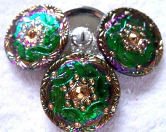 Czech glass buttons  4 pcs   with 24K gold    27mm    IVA 097