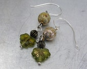 Copal Earrings - leaf bead - yellow green clear - silver ear wires