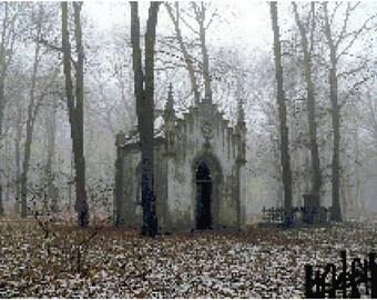 Gothic Chapel Landscape Counted Cross Stitch Pattern Chart PDF Download by Stitching Addiction