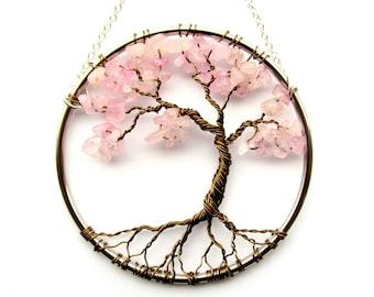 Rose Quartz Wire Tree of Life Wall Hanging, Cherry Tree Bonsai Sun Catcher - Small