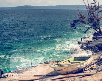 Beach Photograh. Ocean Photography. Mediterranean Sea. Boat Photograph. Calming blue water. Turquoise. Croatia. Waves. Fine Art Photography