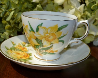 MISMATCHED Fine Bone China Tea Cup and Saucer, White Yellow Floral Motif, Gold Gilt, England