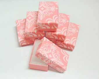 50 Matte Light  Pink Damask Print Cotton Filled Jewelry Presentation Gift Boxes size 3.25 x 2.25 ,  Light Pink Damask Boxes