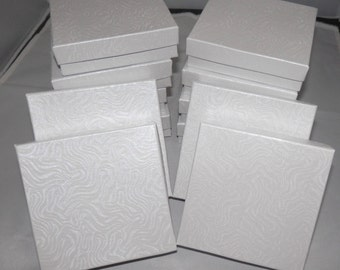 White Swirl  3.5x3.5x1 Cotton filled Jewelry Presentation Boxes ,  Party Favor Craft  Gift Retail Boxes lot of 10