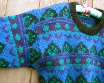 WINTER SALE--Retro 1980s Sweater, Cropped, Mohair Blend, Great Design