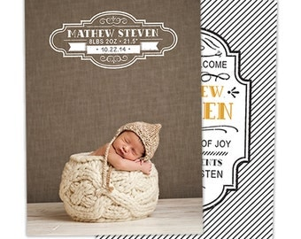 SALE Birth Announcement Template for Photographers - Baby Newborn Boy Photoshop Template - Photography Templates - BA161