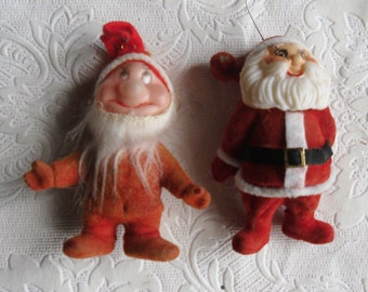 Vintage Christmas Ornaments - Flocked Santa Claus - Flocked Dwarf - 2 Red Flocked Ornaments - Christmas Decor - Holiday Decor